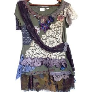 Upcycled dark fairy top size Small